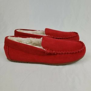 Lands End Suede Leather Moccasin Slippers Rich Red